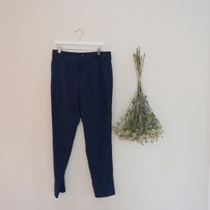 Pants - Silk Blue Micro Print Trousers